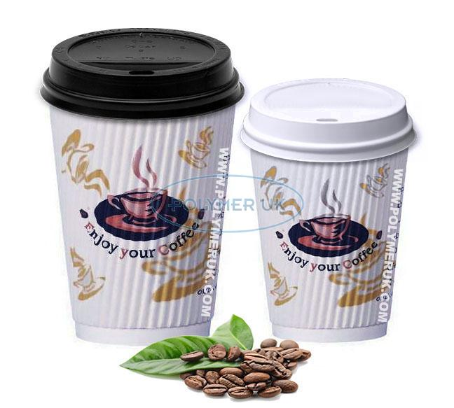 Good Heat insulated paper coffee cups with lids , Corrugated